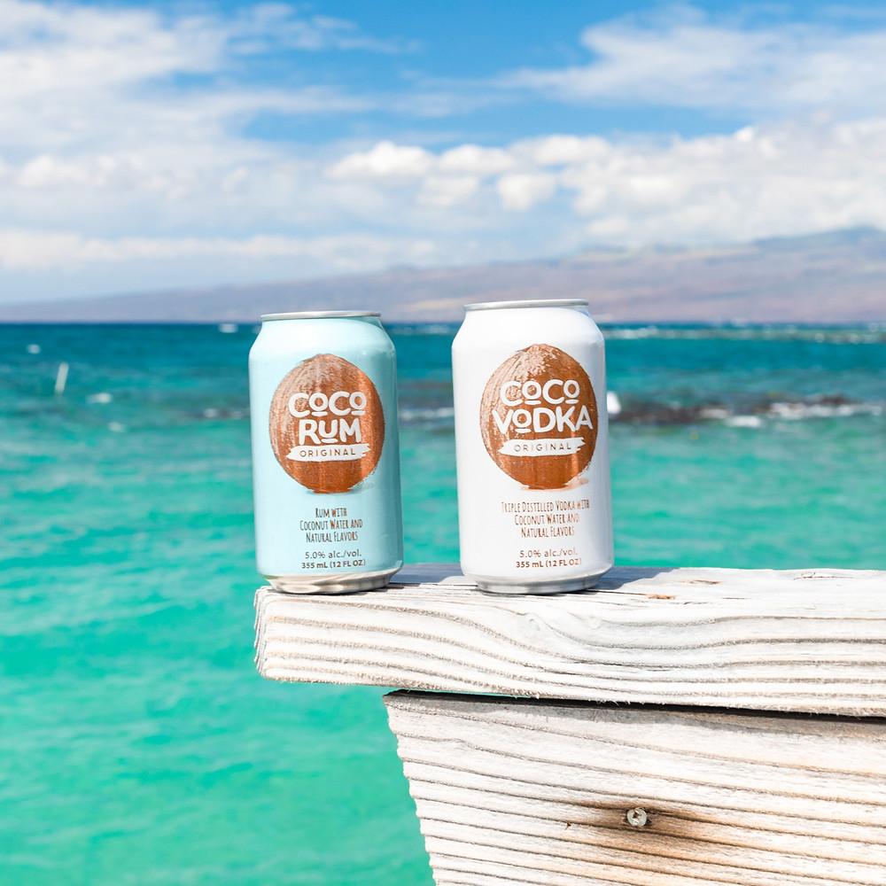 Coco Vodka and CoCo Rum on a beach