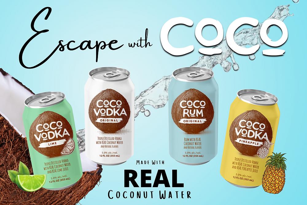 Coco Vodka, CoCo Rum, Coco Vodka Lime, CoCo Vodka Pineapple, Escape with CoCo