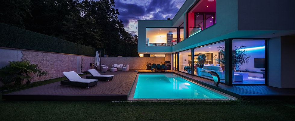 Modern villa with colored led lights at