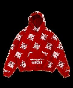 Livingdead hoodie 3 mock front red trans