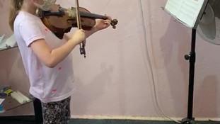 violin lesson with little future maestro