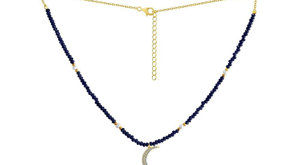 Sapphire Crescent Moon Necklace