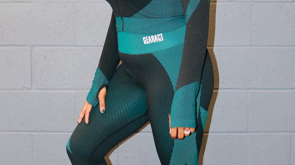 Black & Green Two Piece Legging Set