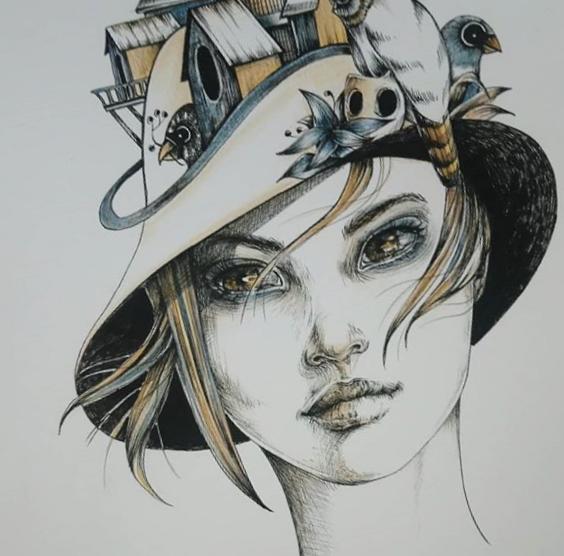 Encre et crayon de couleurs sur papier Format A3