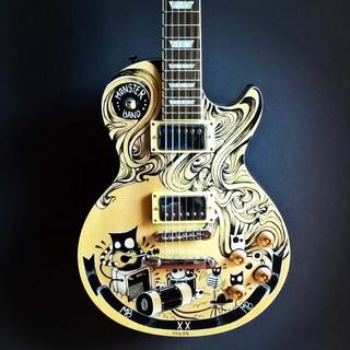 Illustration  Encre et posca sur corps de guitare