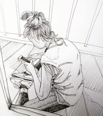 Jeune fille sur téléphone