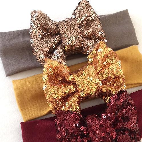 Mocha Mustard Merlot Sparkle Bowband