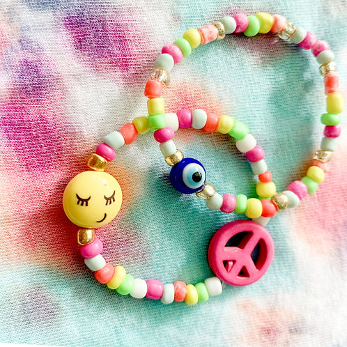 Smiley/Peace/Evil Eye Neon Rainbow Stack