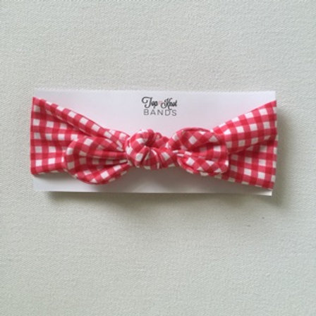 Red Gingham Topknot