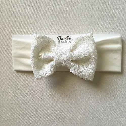 White on White Glitter Bowband