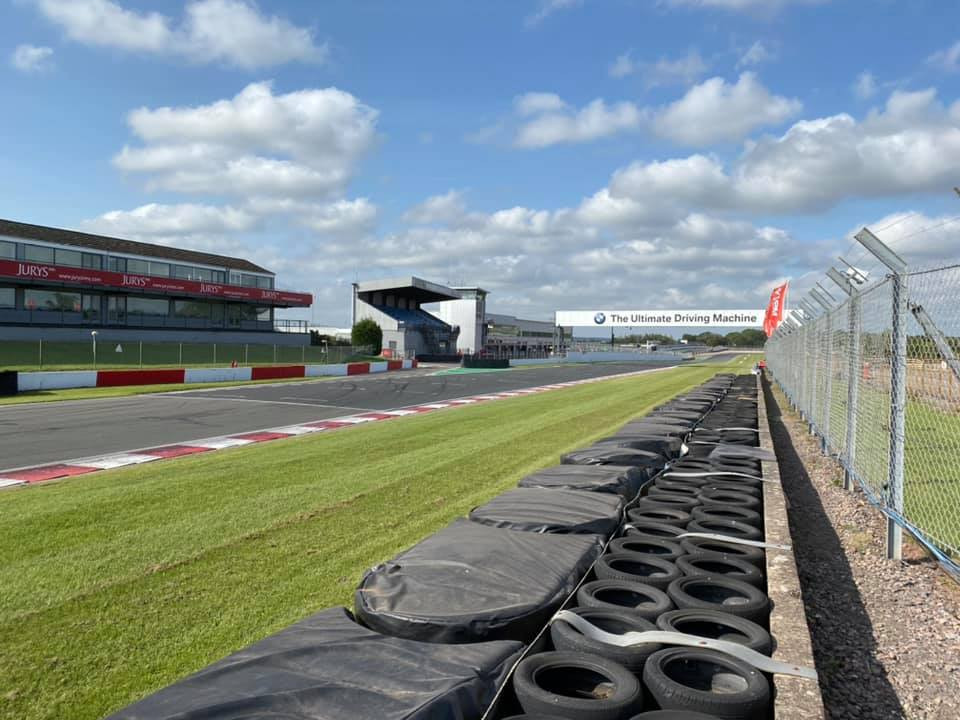 Donington Park pit straight and pit entry