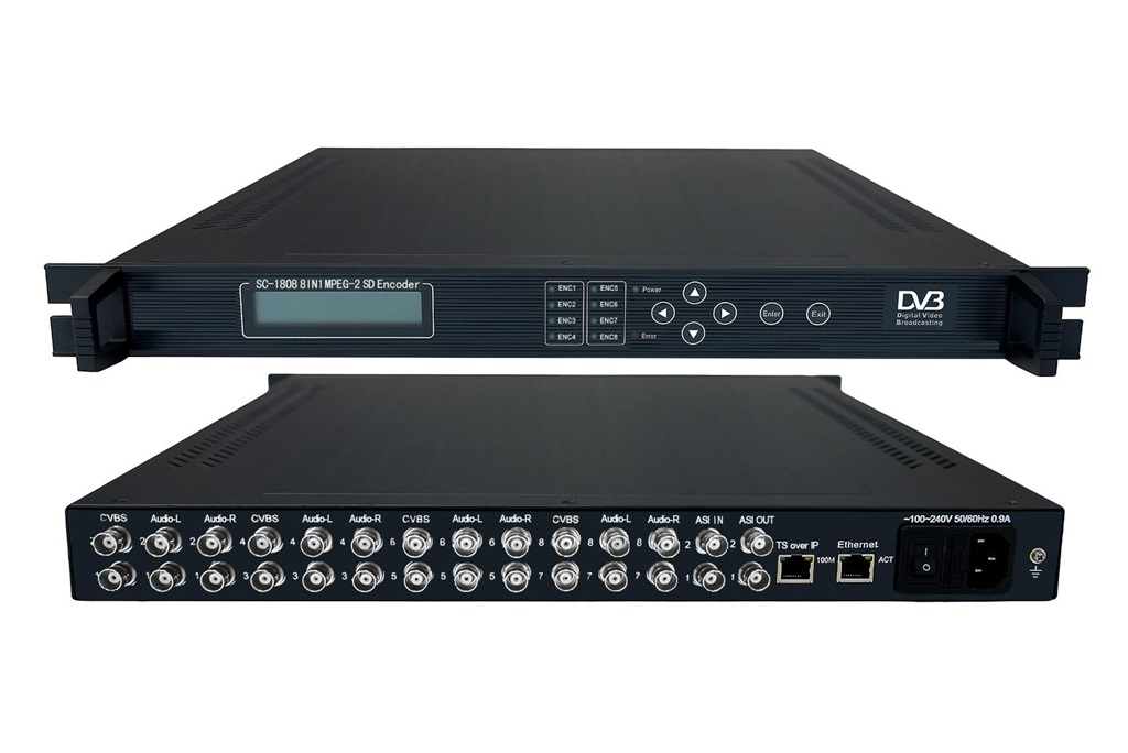MPEG-2 8IN1 SD Encoder 8AV+ASI IN ASI-IP OUT