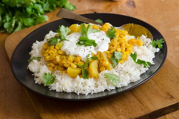 Spiced Indian Lentils with Mint Raita