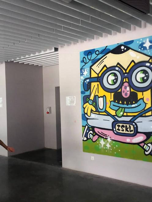 Teacher pencil mural installed