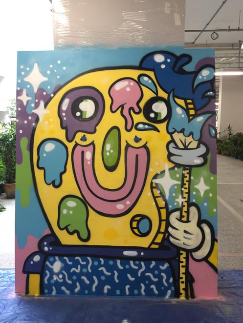 Mural representing painting