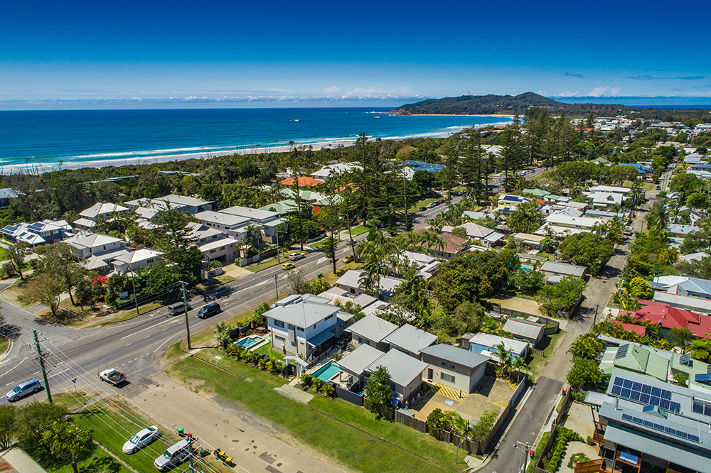 aloha side aerial and view to byron lookout