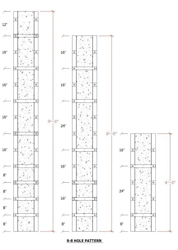 8-8 Formas de hormigón con patrón de agujeros