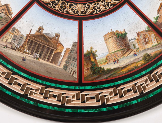 detail of A Grand Tour Centre Table, the Top in the Manner of Domenico Moglia