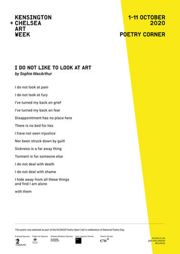 SOPHIE MACARTHUR | I DO NOT LIKE TO LOOK