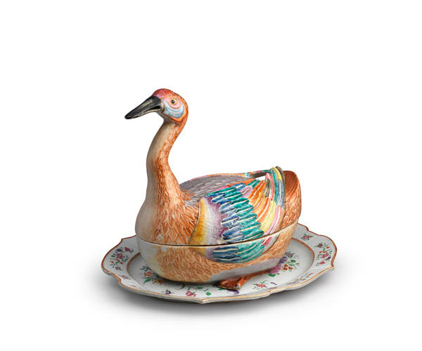 Goose Tureen, Cover and Related Stand