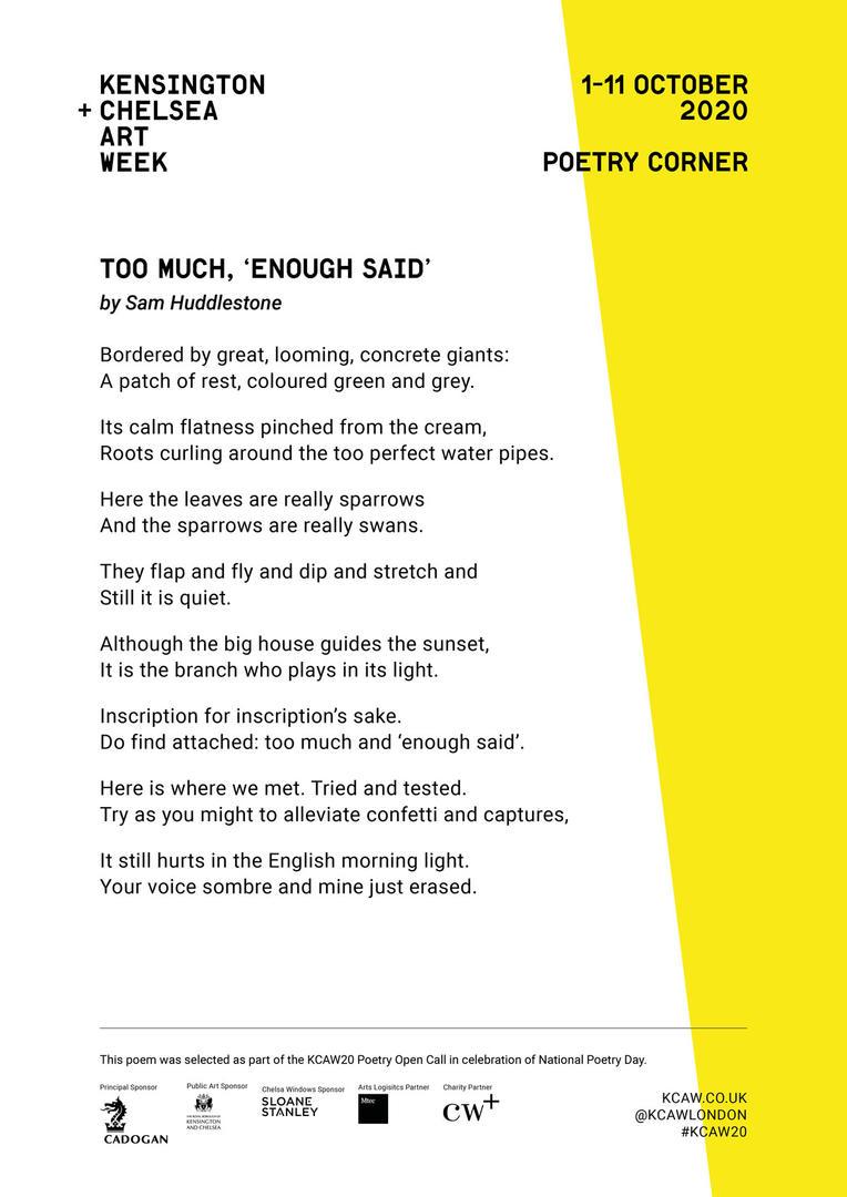 SAM HUDDLESTONE | TOO MUCH, ENOUGH SAID.
