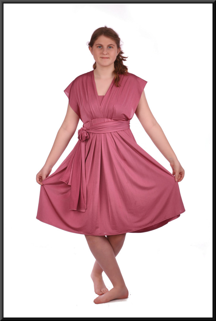 Knee length very lightweight stretch satin cocktail dress with multi-variable sashes, size 12.  Model height 5'7""