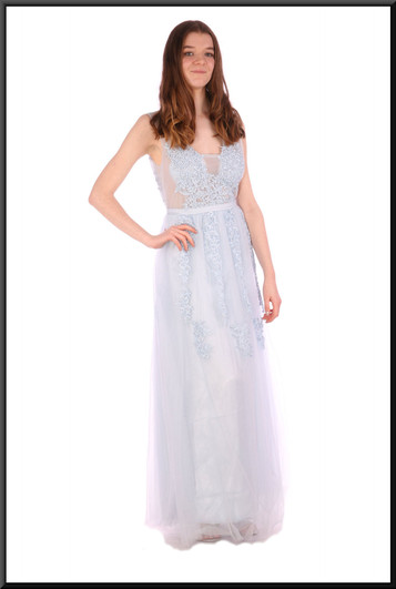 Full length floral embellishment chiffon over satinette evening dress with translucent panels - pale blue, size 12.  Model height 5'7""