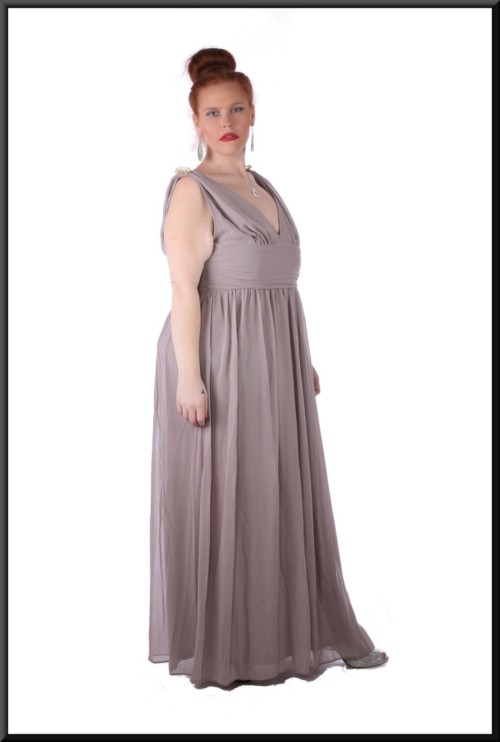 """Aphrodite"" voile over satin full length dress with rear zip v-neckline, shoulder brooches, size 18 / 20 in grey / lilac  Model height 5'7"""
