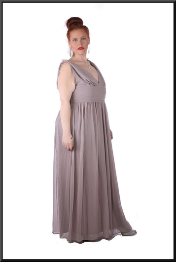 """""""Aphrodite"""" voile over satin full length dress with rear zip v-neckline, shoulder brooches, size 18 / 20 in grey / lilac Model height 5'7"""""""