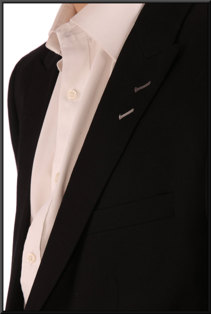 "Men's evening shirt - white - worn with evening suit cat. no. 156Men's evening suit, jacket size not marked, trouser 32"" short"
