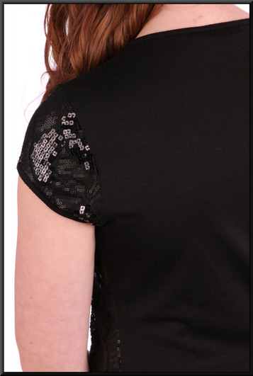 """Sequinned mini dress with plain back panel - black, size 10. Model height 5'4"""""""