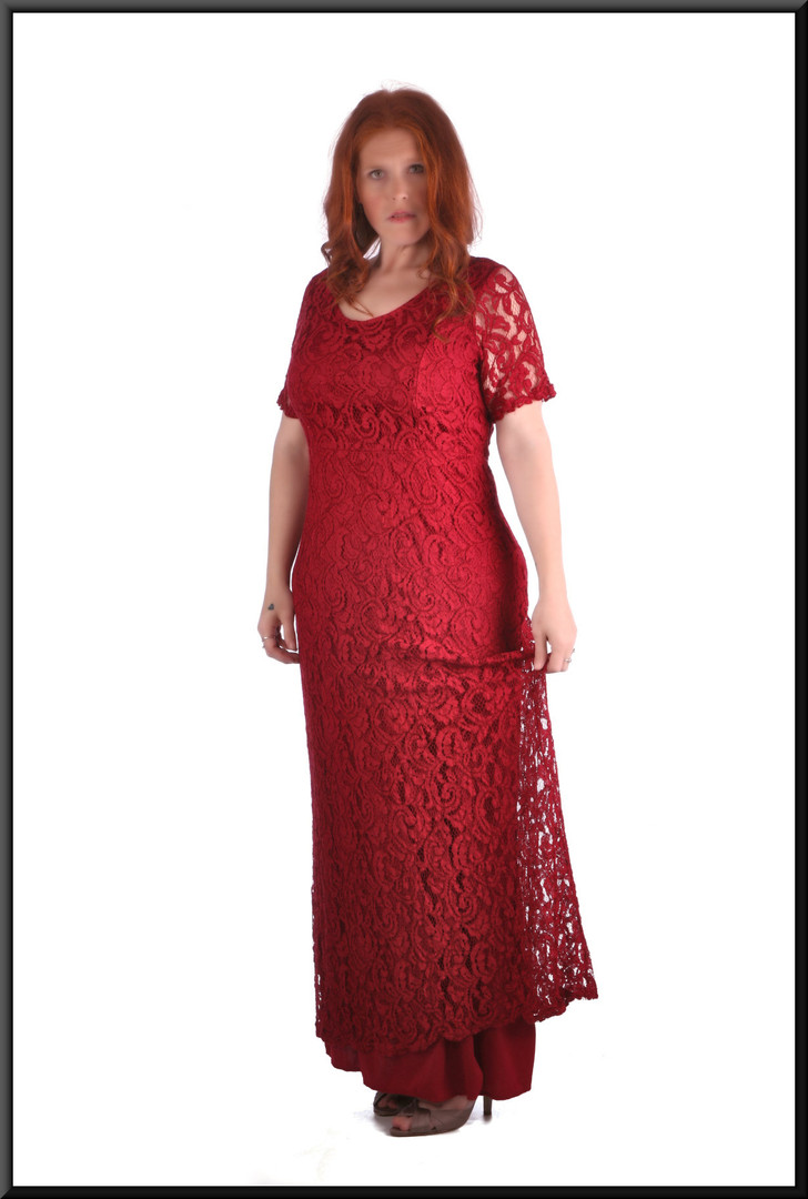 Crochet mesh over satinette 100% polyester slimline fit ankle length evening dress - burgundy size 18