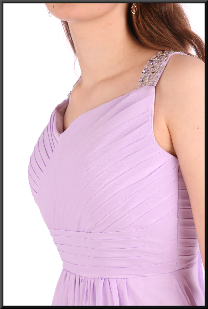 """Full length full chiffon over satinette evening dress with boned bodice - lilac, size 8 / 10. Model height 5'6"""""""