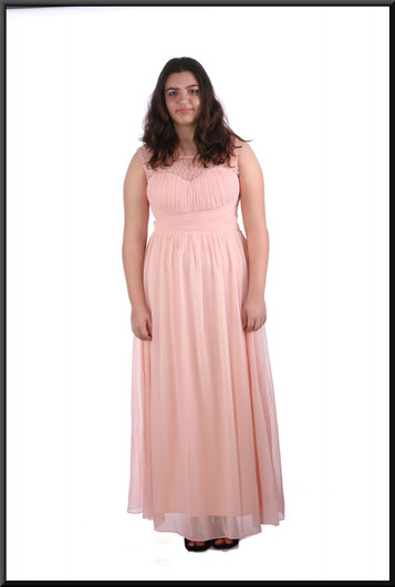 """Chiffon over satinette full length evening dress with ruched bodice and nude shoulder panels - pink, size 16; model height 5'8"""""""