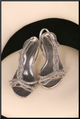 Ladies' silver strappy ballroom sandals with bejewelled straps size 5 by Your Feet Look Gorgeous