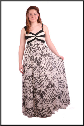 """Full length summer evening dress falling from the bust-line - black & grey on cream, size 10; model height 5'4"""""""
