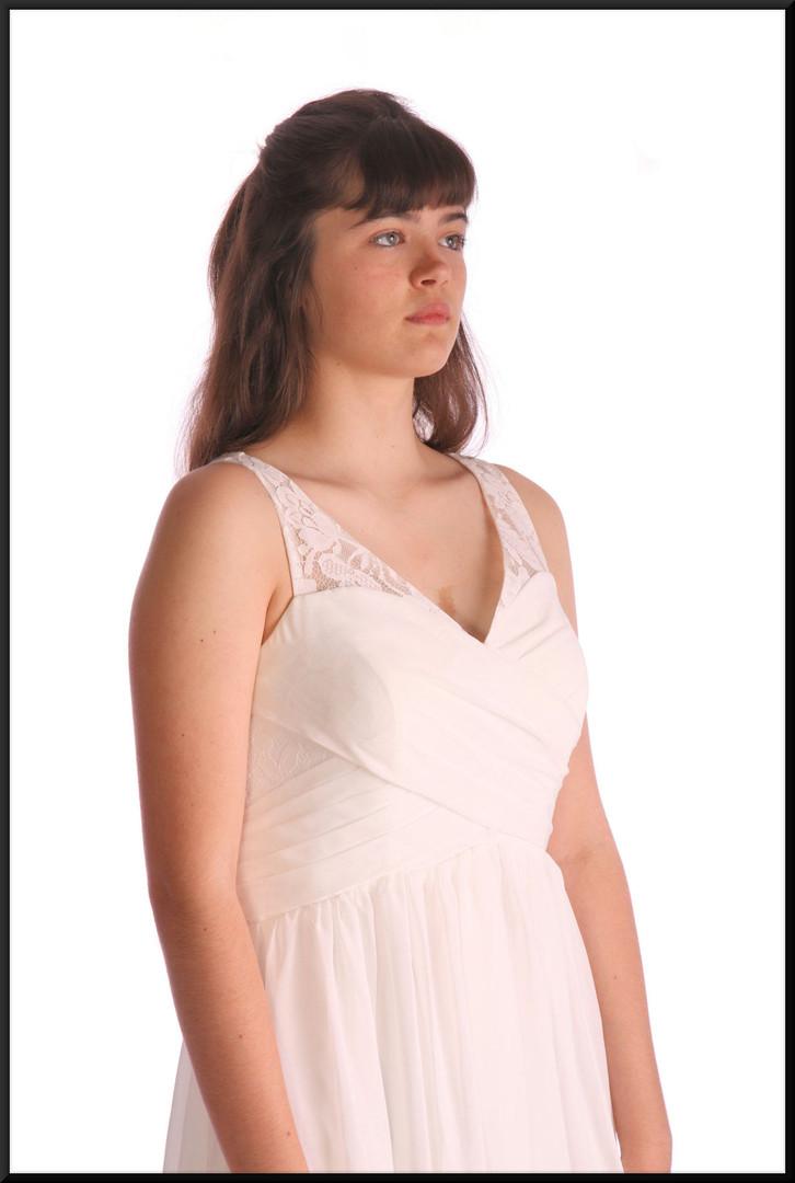 "Greek goddess style calf length chiffon over satinette evening dress, pale cream, size 12, model height 5'10"""
