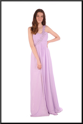 Full length single embellished strap chiffon over satinette full evening dress - lilac, size 10 / 12; model height 5'7""