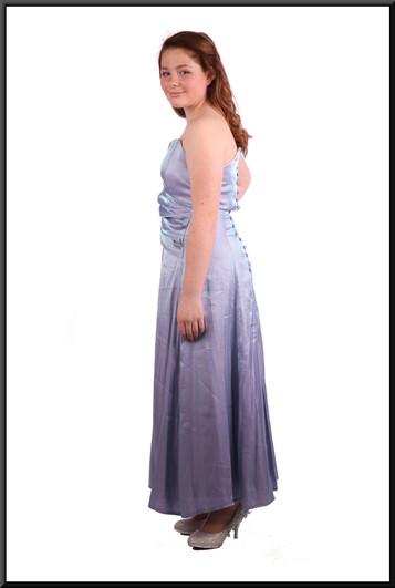 "Unusual shimmer light-catcher prismatic-effect fabric strapless mini dress - blue & purple, size 10 / 12.  Model height 5'4"""