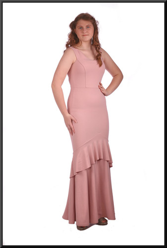 Size 10 / 12 polyester full length Jessica Rabbit style evening dress, powder pink