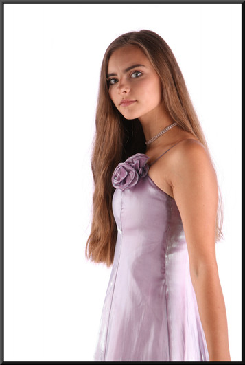 """Incandescent ankle length evening dress with rose motif embroidered on the bodice, lilac, size 4, model height 5'2"""""""