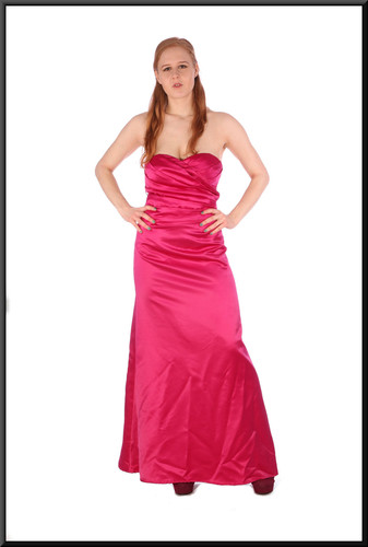 """Polyester and acetate ankle length evening dress - fuchsia, size 10; model height 5'6"""""""