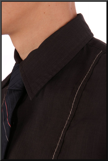 Men's short-sleeve shirt collar small - black with small pattern