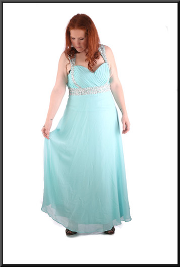 Full length chiffon over satinette full skirt evening dress with diamanté effect shoulder straps - pale turquoise, size 18