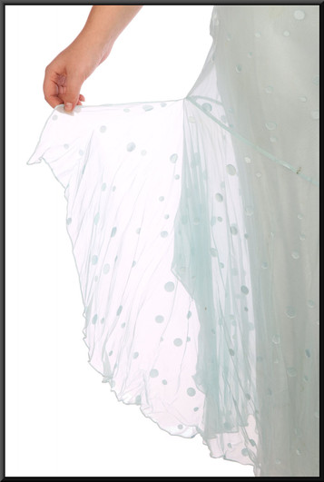 """Asynchronous slim cut party dress with chiffon skirt flares and gem rear straps - pale blue, size 16; model height 5'8"""""""
