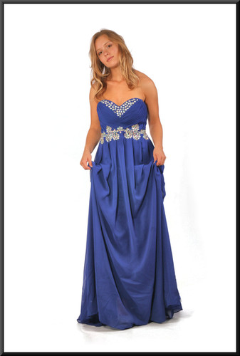 Full length strapless evening dress with silver decoration chiffon over satinette, royal blue, size 10 / 12; model height 5'5""