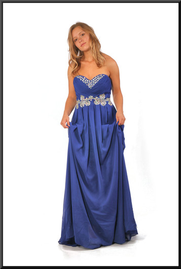 """Full length strapless evening dress with silver decoration chiffon over satinette, royal blue, size 10 / 12; model height 5'5"""""""