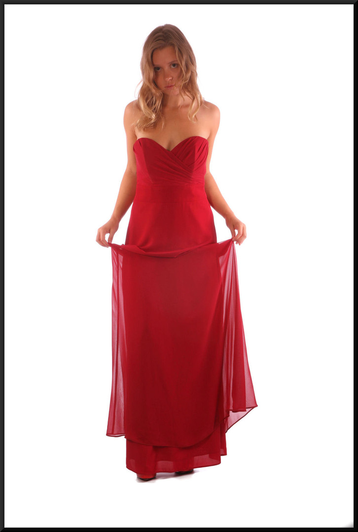 Full length strapless chiffon over satinette bridesmaid / evening dress red, marked US 8, size 12, model height 5'3""