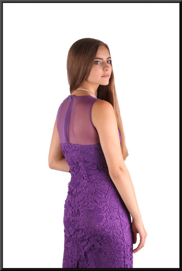 """Cocktail dress with embroidered panels front and nude panels rear part of bodice & left shoulder, mauve, size 8, model height 5'2"""""""