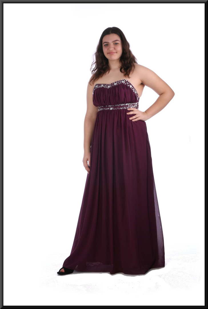 Full length chiffon over satinette strapless evening dress with embellished bodice - plum, size 16; model height 5'8""